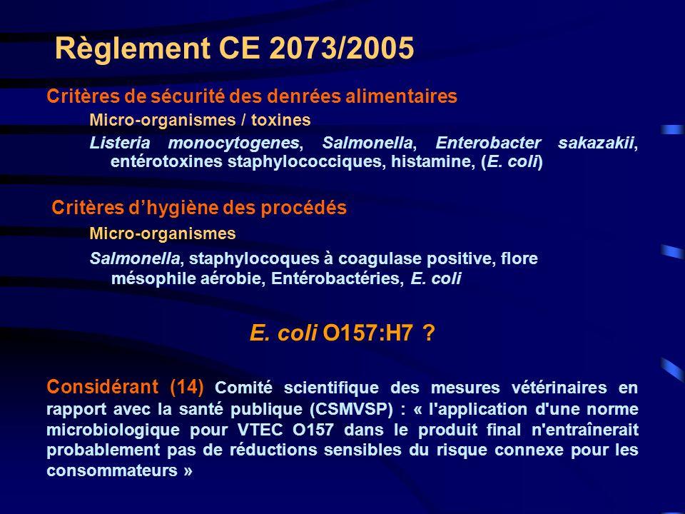 Règlement CE 2073/2005 E. coli O157:H7