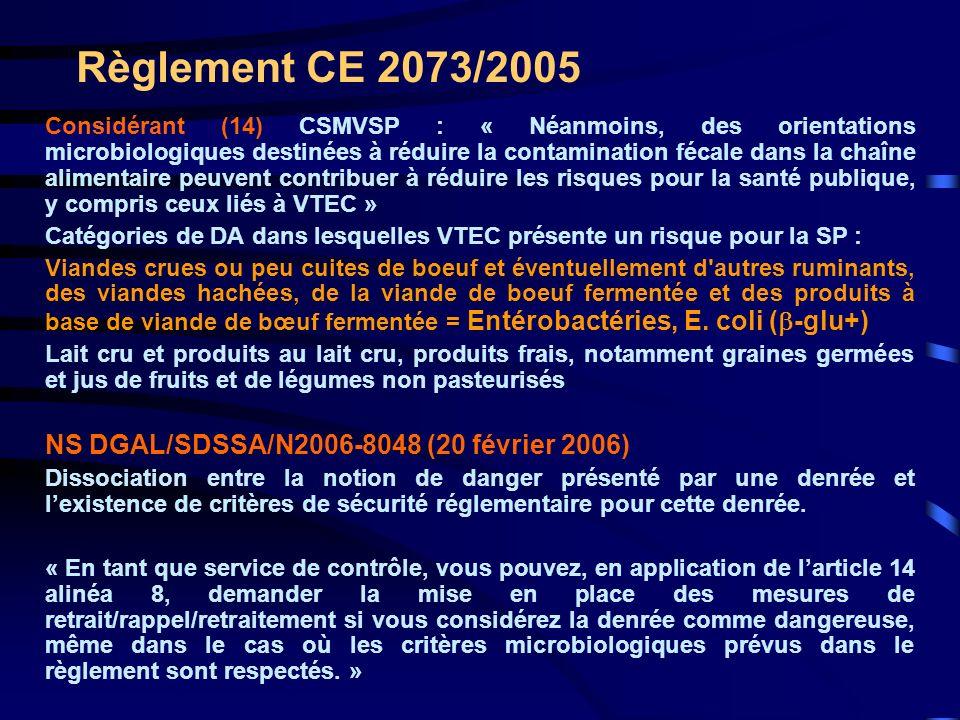Règlement CE 2073/2005 NS DGAL/SDSSA/N2006-8048 (20 février 2006)