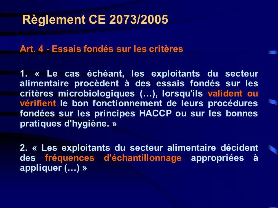 Règlement CE 2073/2005 Art. 4 - Essais fondés sur les critères