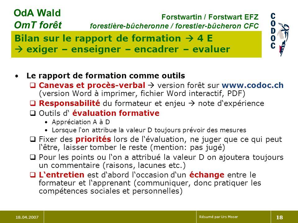 Bilan sur le rapport de formation  4 E  exiger – enseigner – encadrer – evaluer