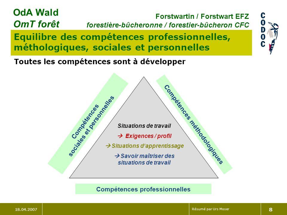 Equilibre des compétences professionnelles, méthologiques, sociales et personnelles