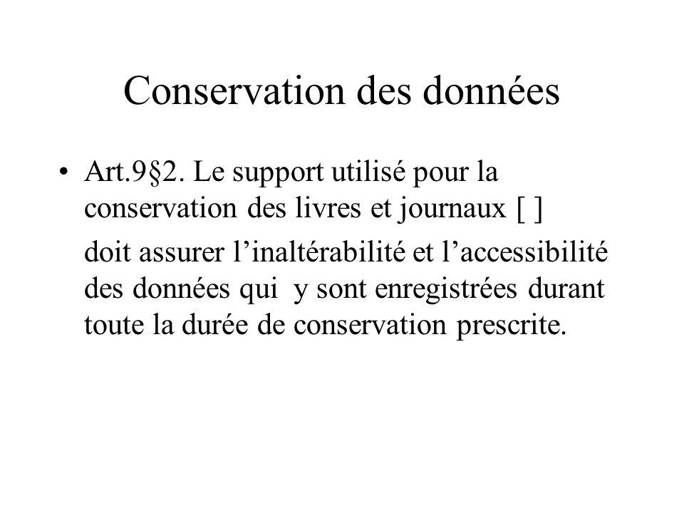 Conservation des données