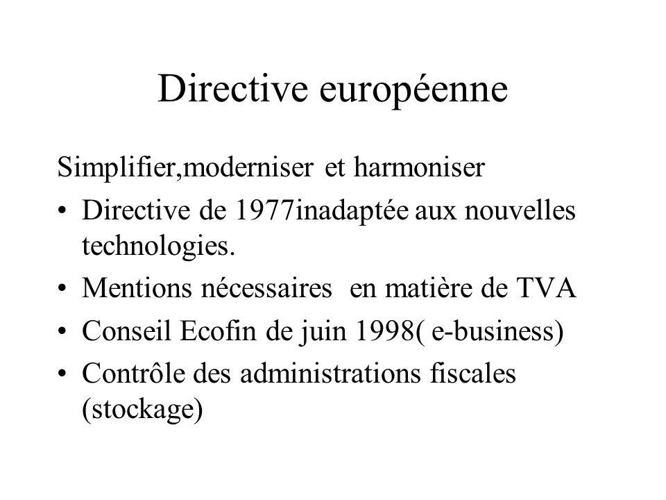Directive européenne Simplifier,moderniser et harmoniser