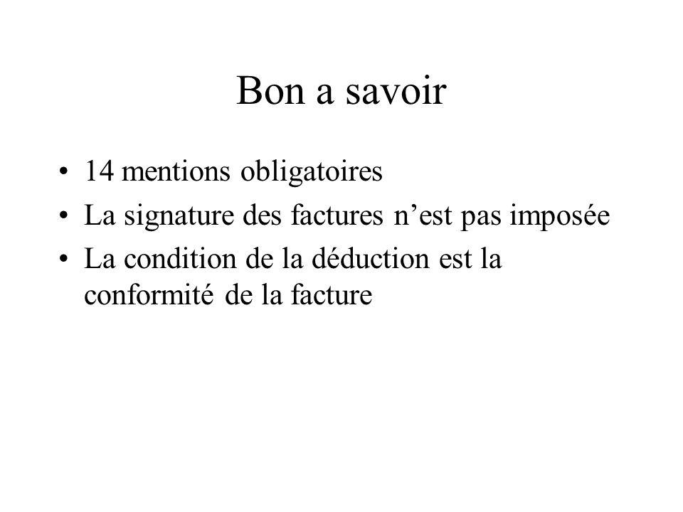 Bon a savoir 14 mentions obligatoires