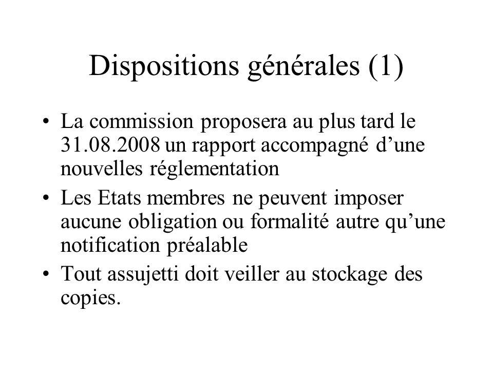 Dispositions générales (1)