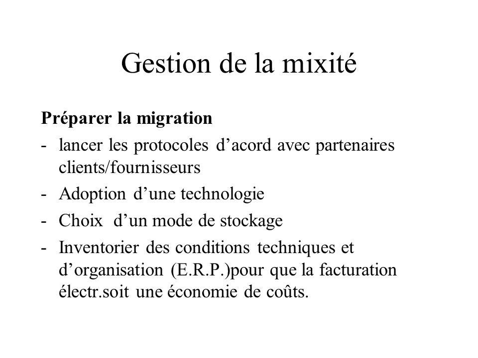 Gestion de la mixité Préparer la migration