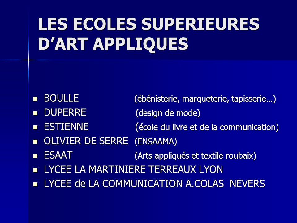 LES ECOLES SUPERIEURES D'ART APPLIQUES