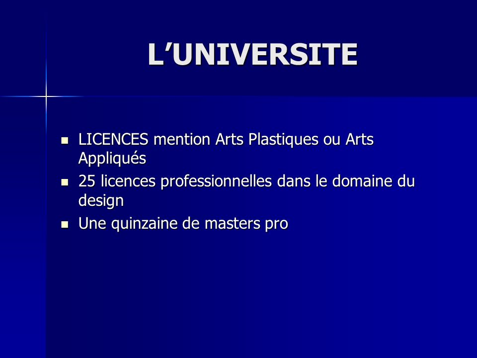 L'UNIVERSITE LICENCES mention Arts Plastiques ou Arts Appliqués