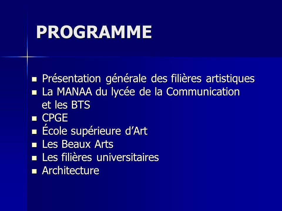 PROGRAMME Présentation générale des filières artistiques