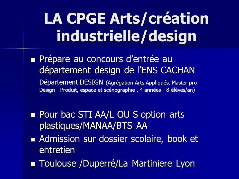 LA CPGE Arts/création industrielle/design