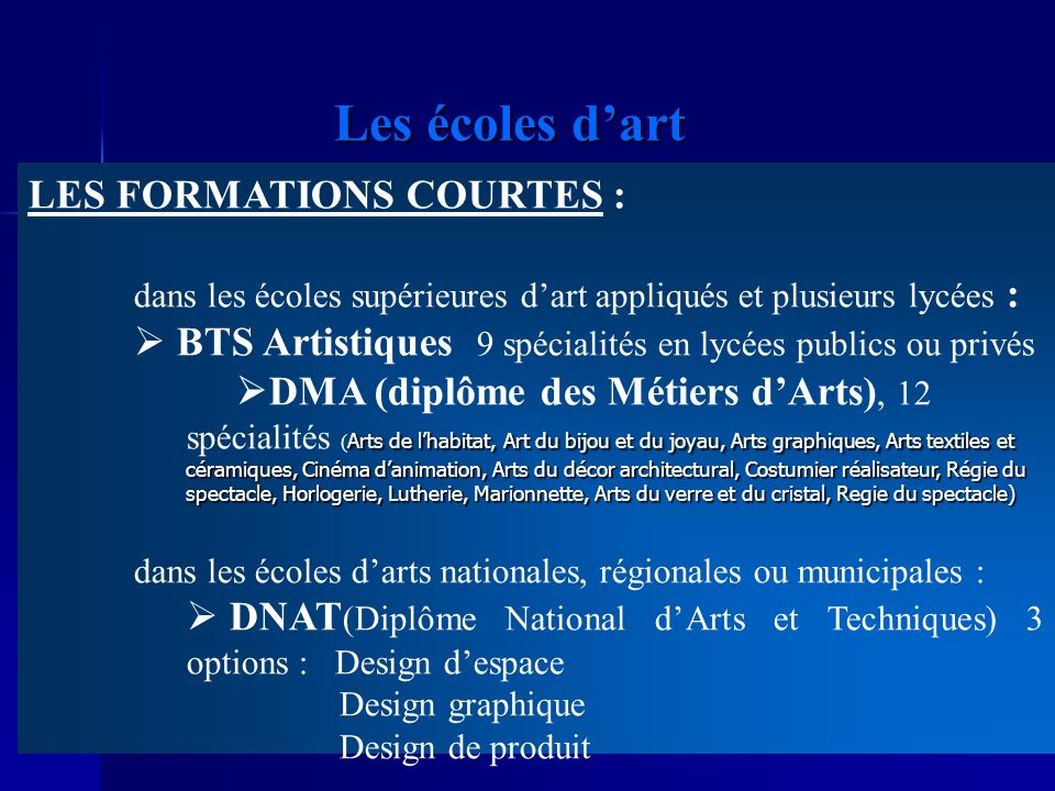 Les écoles d'art LES FORMATIONS COURTES :