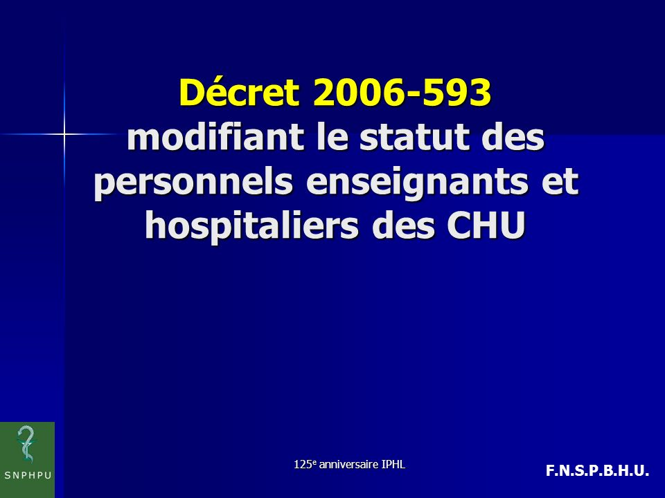 Décret 2006-593 modifiant le statut des personnels enseignants et hospitaliers des CHU