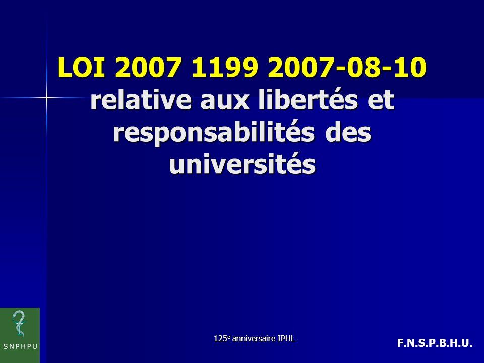 LOI 2007 1199 2007-08-10 relative aux libertés et responsabilités des universités