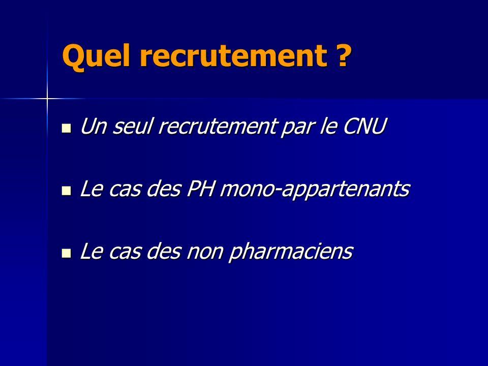 Quel recrutement Un seul recrutement par le CNU