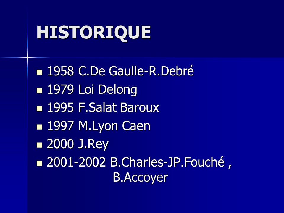 HISTORIQUE 1958 C.De Gaulle-R.Debré 1979 Loi Delong