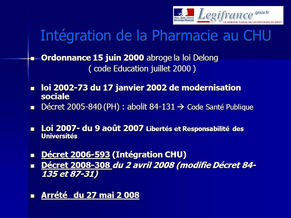Intégration de la Pharmacie au CHU