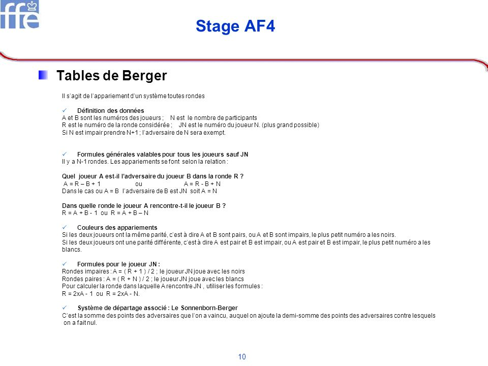 Stage AF4 Tables de Berger