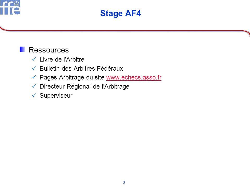 Stage AF4 Ressources Livre de l'Arbitre Bulletin des Arbitres Fédéraux