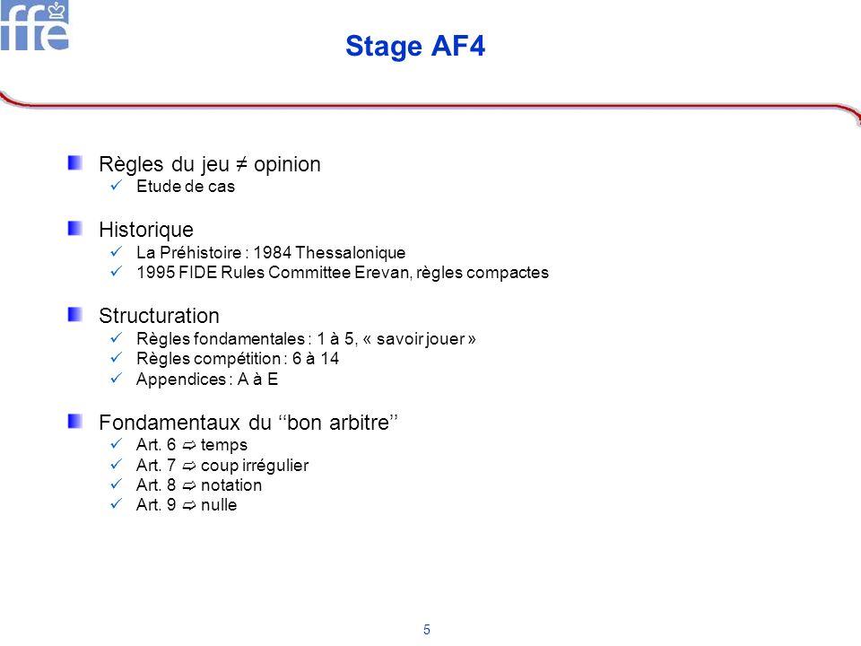 Stage AF4 Règles du jeu ≠ opinion Historique Structuration