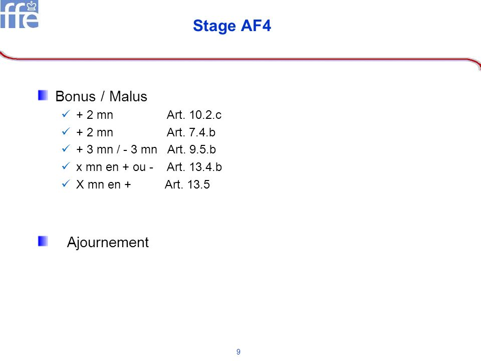 Stage AF4 Bonus / Malus Ajournement + 2 mn Art. 10.2.c