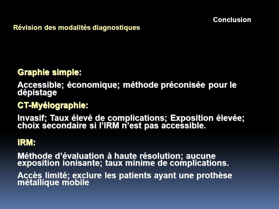 Accessible; économique; méthode préconisée pour le dépistage