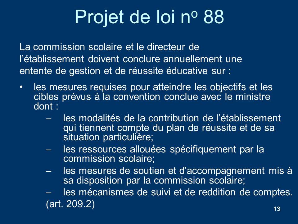 Projet de loi no 88 La commission scolaire et le directeur de