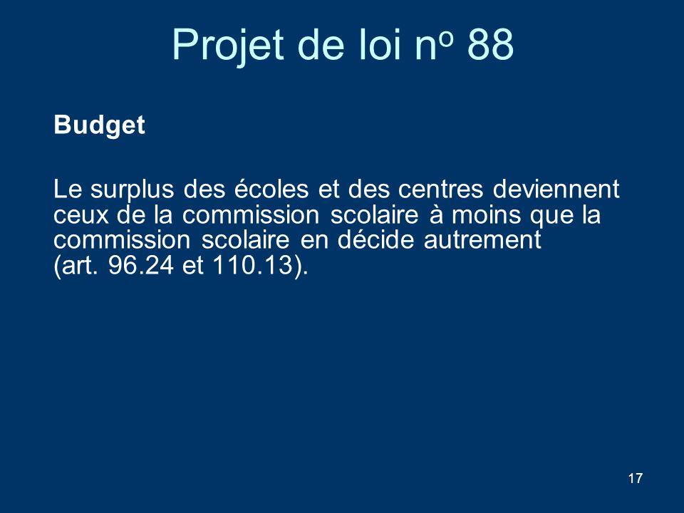 Projet de loi no 88 Budget.