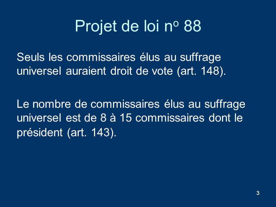 Projet de loi no 88 Seuls les commissaires élus au suffrage universel auraient droit de vote (art. 148).