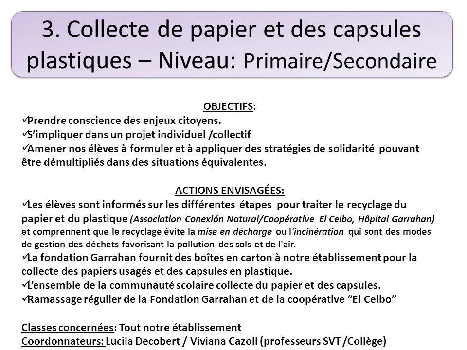 4. Atelier d'écologie et DD – Niveau Collège