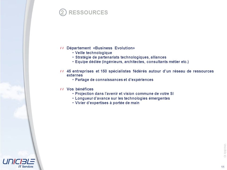 2 RESSOURCES Département «Business Evolution»