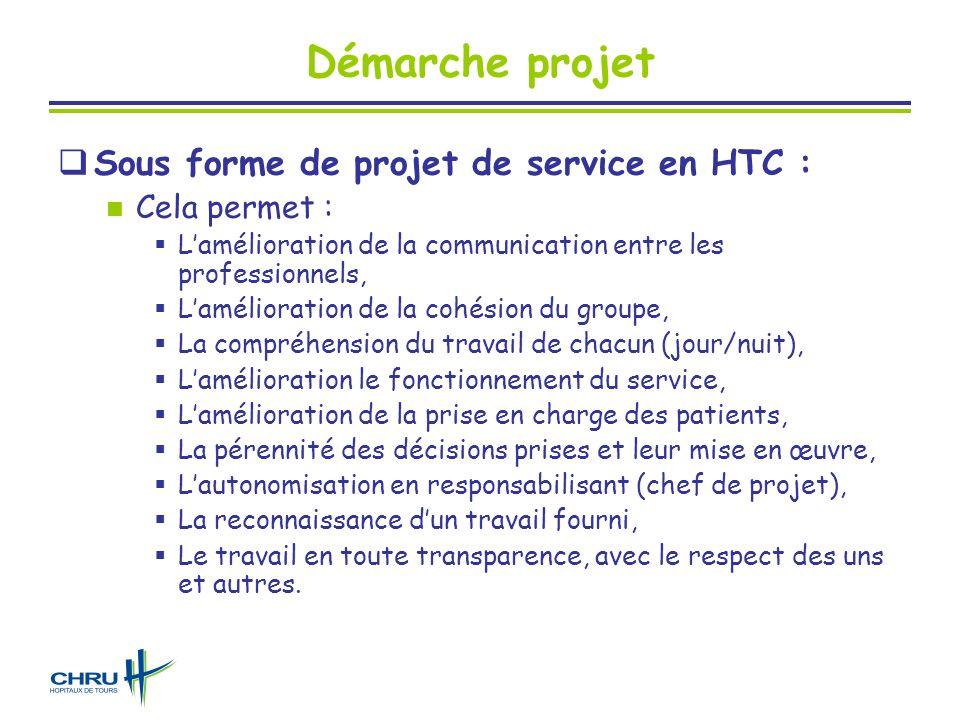 Démarche projet Sous forme de projet de service en HTC : Cela permet :