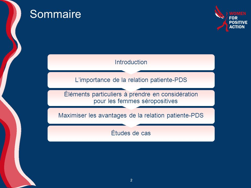 Sommaire Introduction L'importance de la relation patiente-PDS