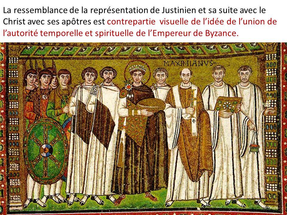 La ressemblance de la représentation de Justinien et sa suite avec le Christ avec ses apôtres est contrepartie visuelle de l'idée de l'union de l'autorité temporelle et spirituelle de l'Empereur de Byzance.