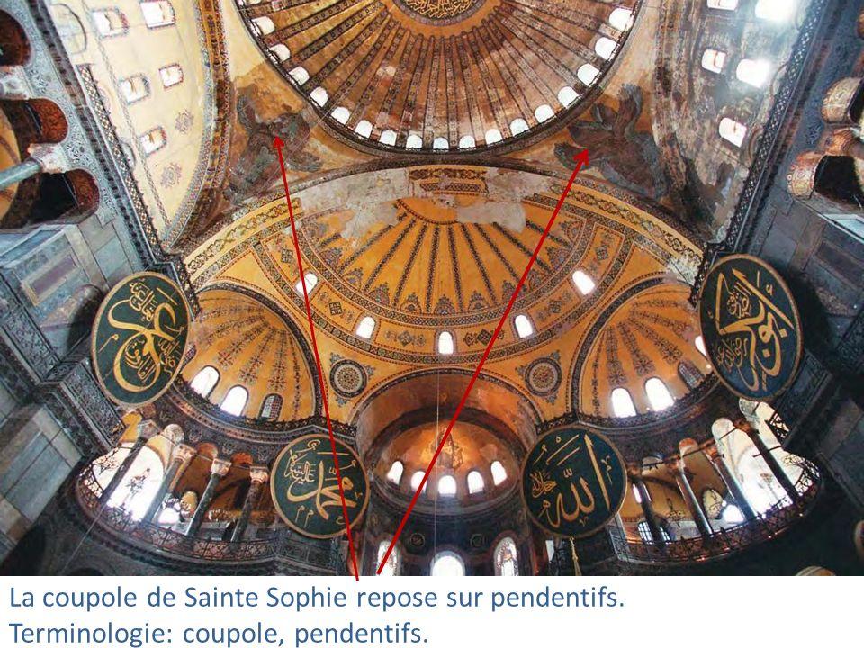 La coupole de Sainte Sophie repose sur pendentifs