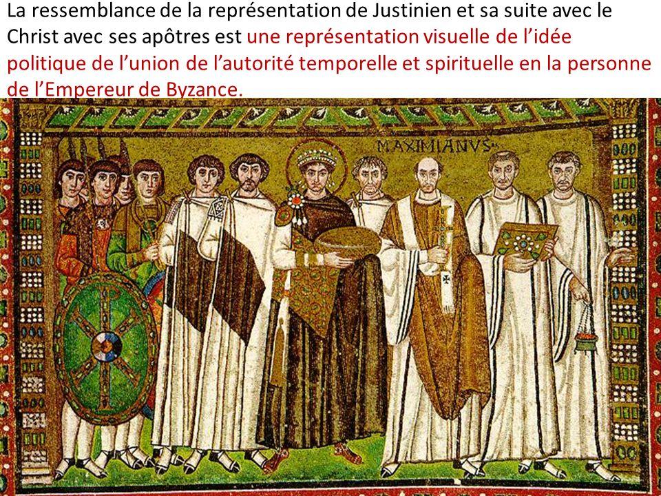La ressemblance de la représentation de Justinien et sa suite avec le Christ avec ses apôtres est une représentation visuelle de l'idée politique de l'union de l'autorité temporelle et spirituelle en la personne de l'Empereur de Byzance.