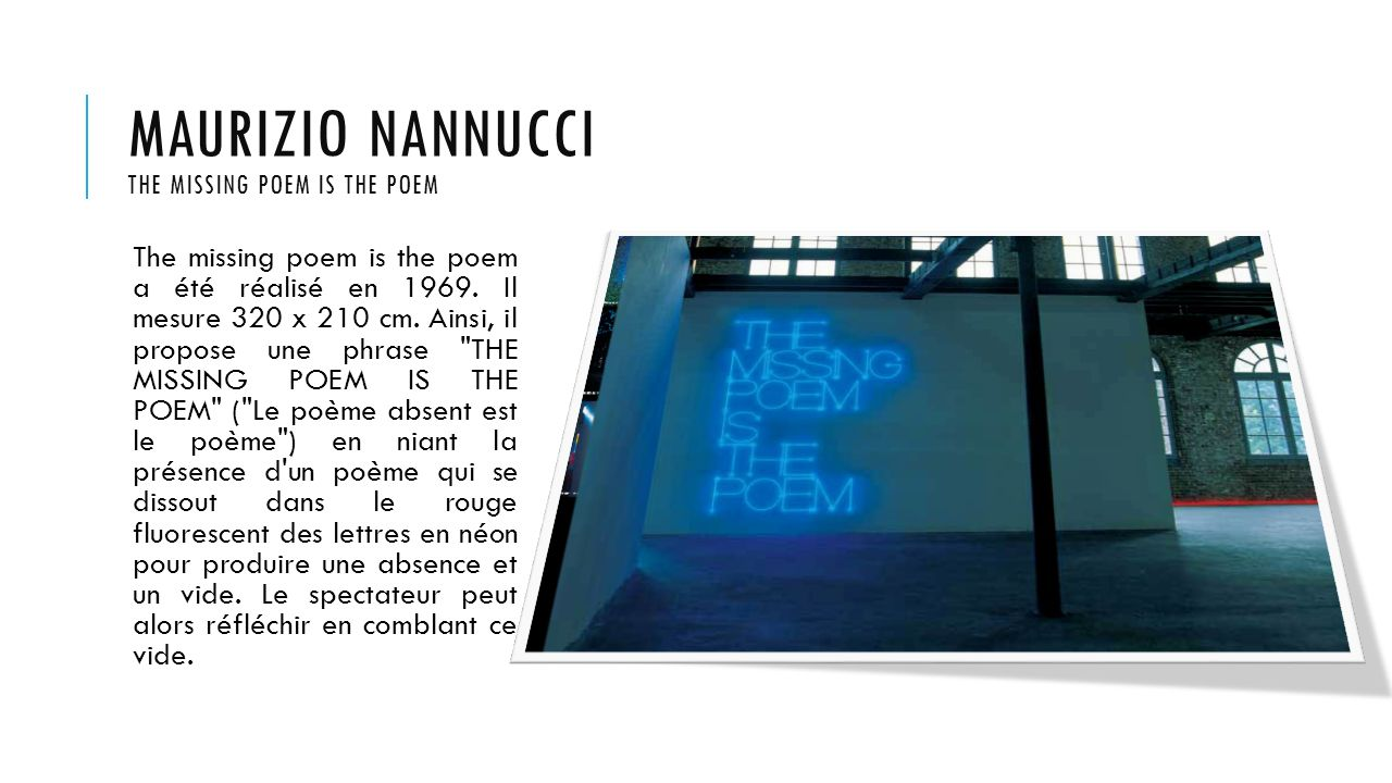 Maurizio nannucci The missing poem is the poem