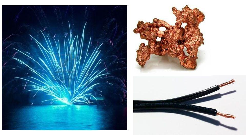 Bleu – un cristal de cuivre – des fils de cuivre dans un câble