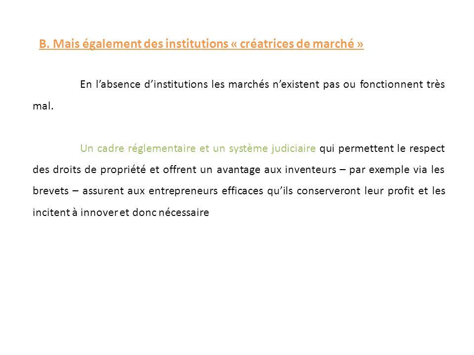 B. Mais également des institutions « créatrices de marché »