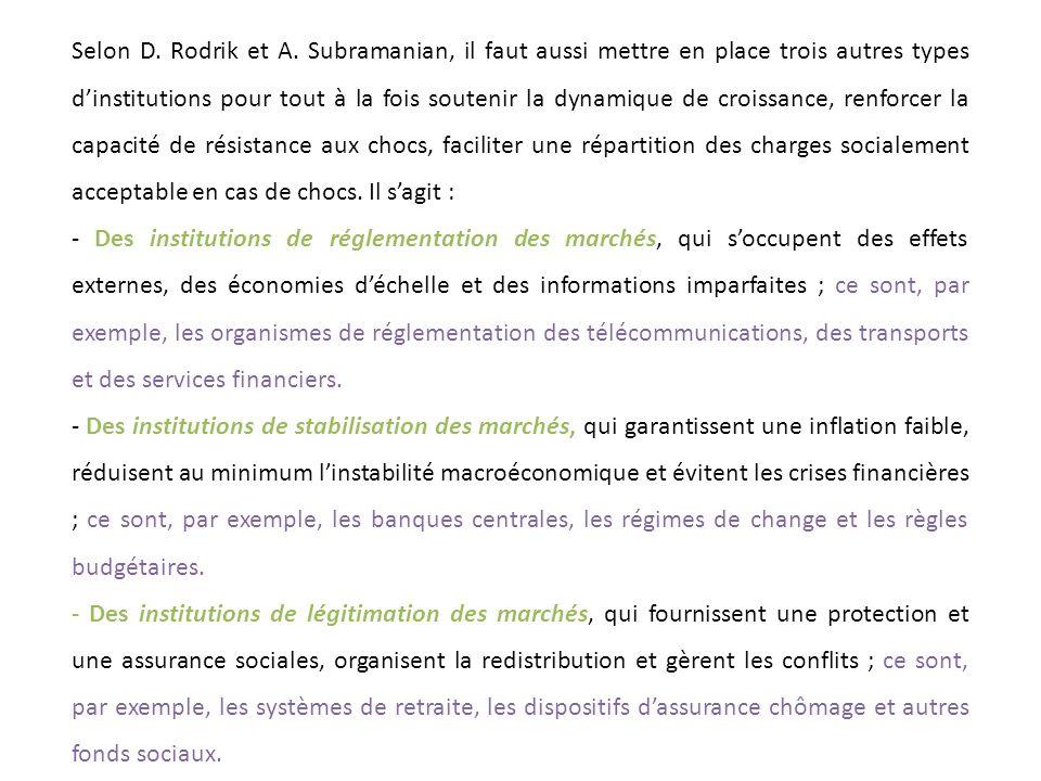 Selon D. Rodrik et A. Subramanian, il faut aussi mettre en place trois autres types d'institutions pour tout à la fois soutenir la dynamique de croissance, renforcer la capacité de résistance aux chocs, faciliter une répartition des charges socialement acceptable en cas de chocs. Il s'agit :