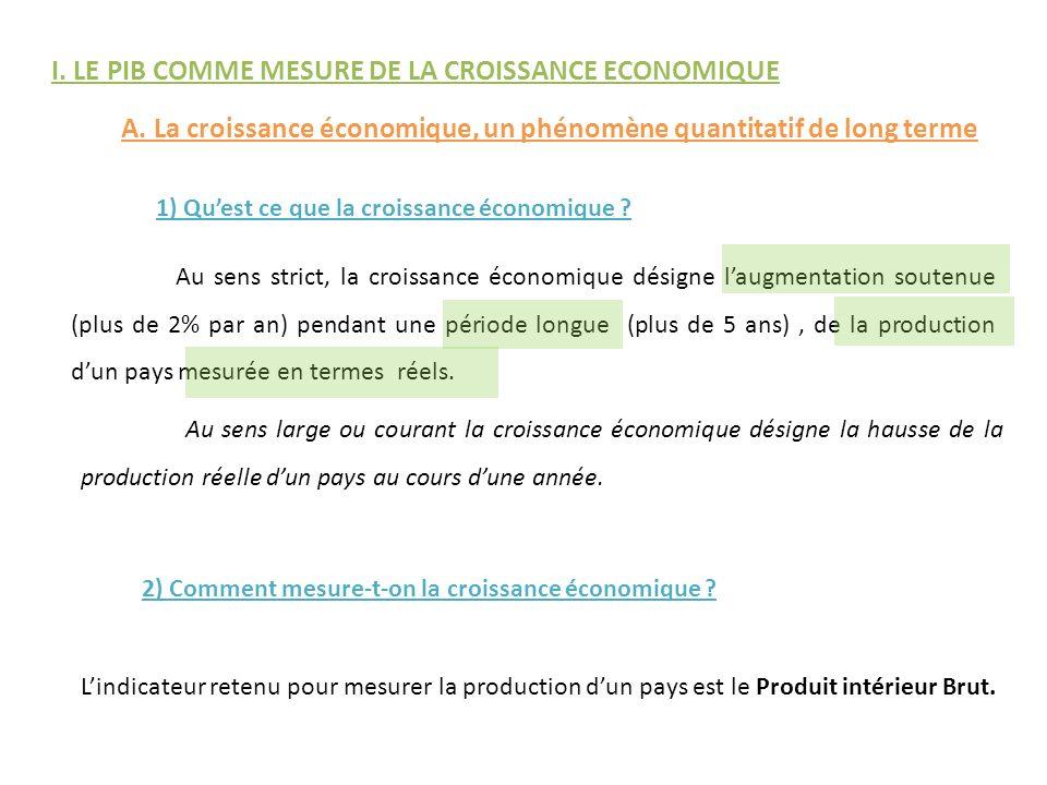 I. LE PIB COMME MESURE DE LA CROISSANCE ECONOMIQUE