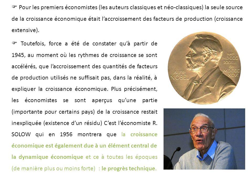  Pour les premiers économistes (les auteurs classiques et néo-classiques) la seule source de la croissance économique était l'accroissement des facteurs de production (croissance extensive).