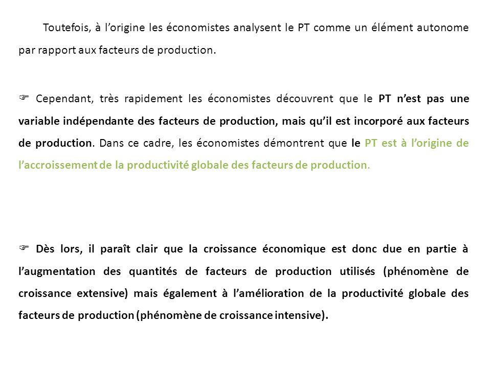 Toutefois, à l'origine les économistes analysent le PT comme un élément autonome par rapport aux facteurs de production.
