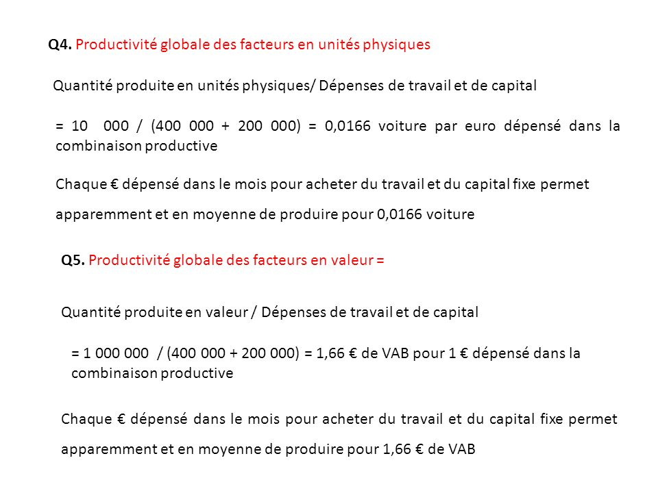 Q4. Productivité globale des facteurs en unités physiques