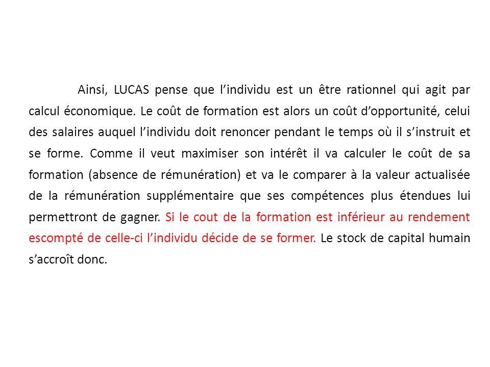 Ainsi, LUCAS pense que l'individu est un être rationnel qui agit par calcul économique.