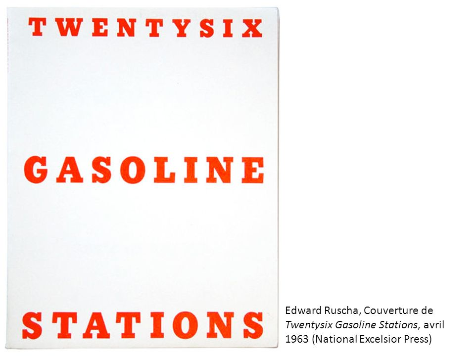 Edward Ruscha, Couverture de Twentysix Gasoline Stations, avril 1963 (National Excelsior Press)