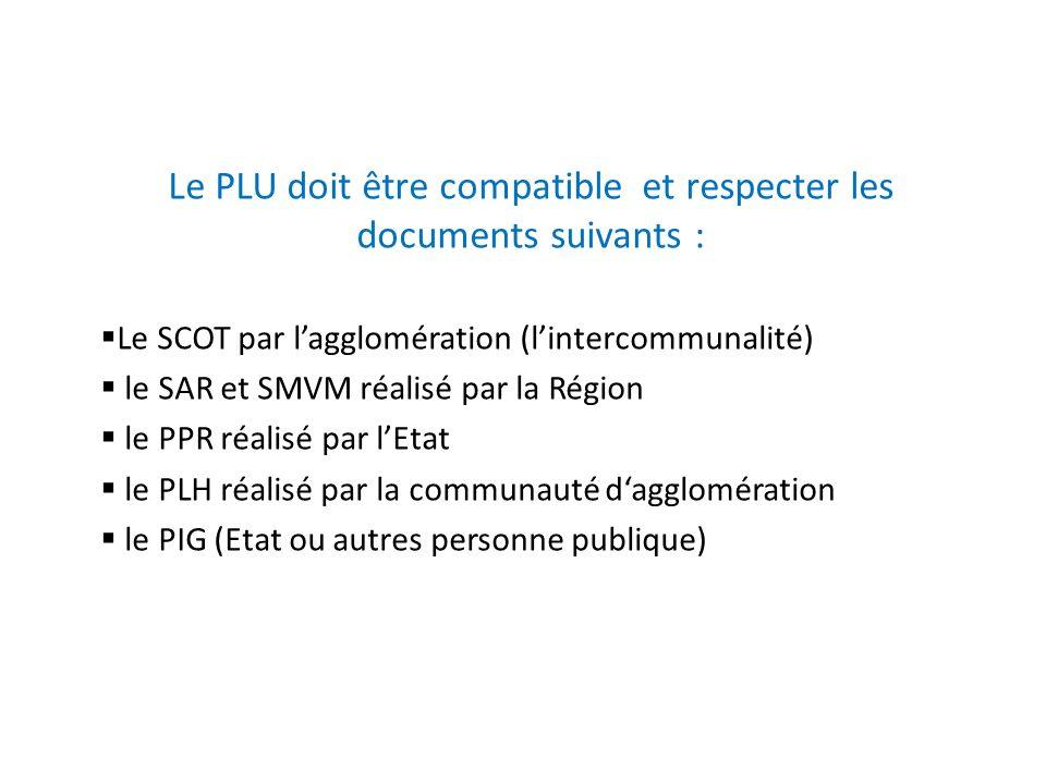Le PLU doit être compatible et respecter les documents suivants :