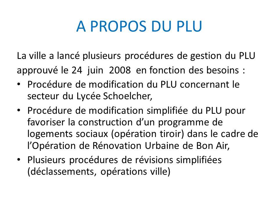 A PROPOS DU PLU La ville a lancé plusieurs procédures de gestion du PLU. approuvé le 24 juin 2008 en fonction des besoins :