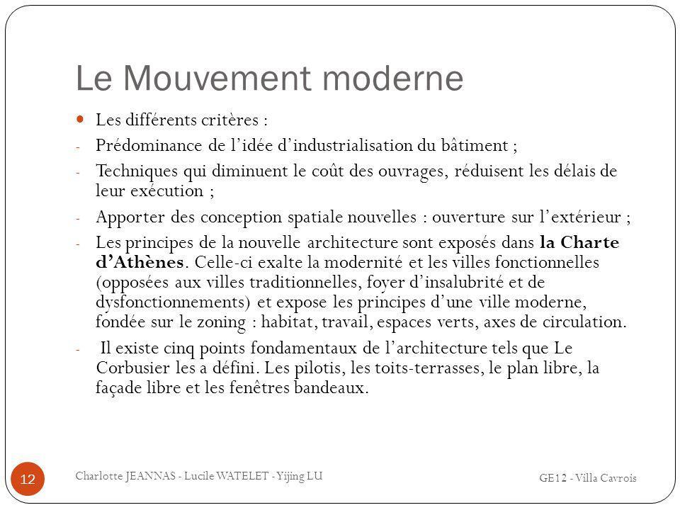 Le Mouvement moderne Les différents critères :