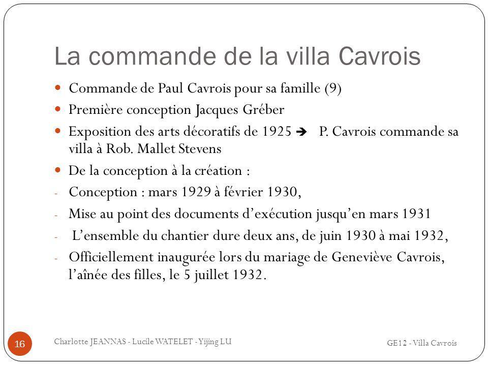 La commande de la villa Cavrois
