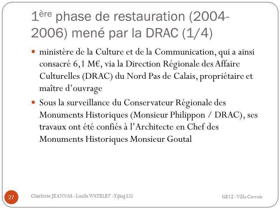 1ère phase de restauration (2004-2006) mené par la DRAC (1/4)
